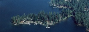 Aerial view of Camp Chawanakee in Shaver Lake